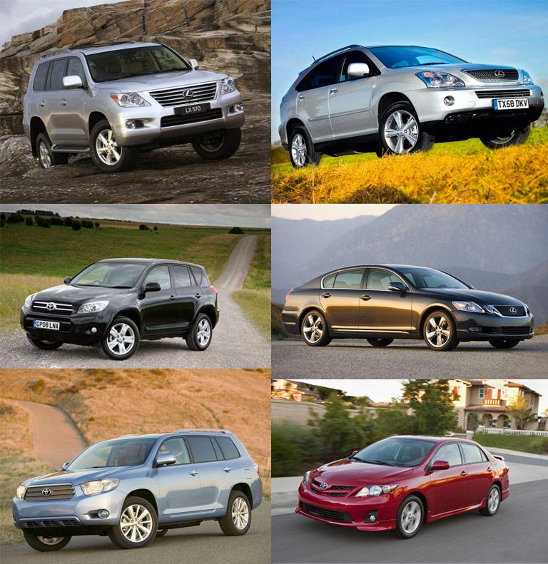 Lexus LX 470, Lexus RX 400h, Toyota Rav4, Lexus GS 350, Toyota Highlander Hybrid, Toyota Corolla